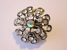 Large Domed Flower Ring Bronze Metal Clear Rhinestones Adjustable Band 7&up