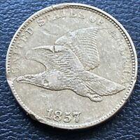 1857 Flying Eagle Cent 1c Better Grade XF - AU Details #29563