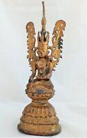 Antique Burmese Bronze Jambhupati Crowned Buddha Bhumisparsa Mudra Figure 18th C
