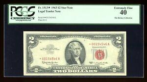 DBR 1963 $2 Legal STAR Fr. 1513* PCGS XF-40 Serial *00154546A