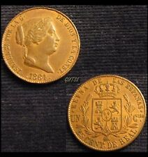 *GUTSE*523-ISABEL II, 25 CENTIMOS DE REAL 1864, SEGOVIA, EBC+