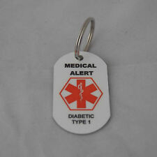 Medical Alert tag keyring for Diabetic Type 1