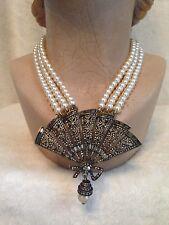 Heidi Daus 3-strand Cream Pearl FAN Necklace with Dangling Pearl Drop