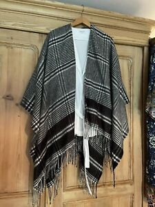 Marks & Spencer One Size Black And White Tartan Poncho Cape