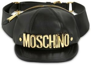 AW20 Moschino Couture Jeremy Scott BLACK LEATHER HAT SHAPED FANNY PACK GOLD LOGO