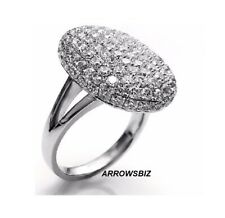 Oval Shape Crystal Rhinestone Women Wedding Engagement Silver Ring Size 6 -14