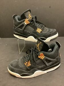 Mens Size 9 Air Jordan 4 Retro Royalty DS Black Metallic Gold White 308497-032
