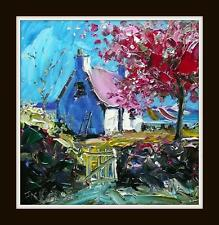 CHERRY BLOSSOM COTTAGE MULL : HEBRIDEAN COLOURIST OIL PAINTING : JACK FRASER
