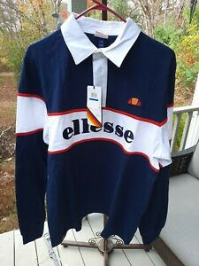 "NWT ELLESSE Men's XL Long Sleeve Rugby/Polo Shirt Blue/Red/White 46"" Chest"