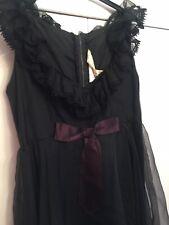 Vintage Negro Vestido Talla 12 Halloween de Steampunk Gótico Día de los muertos