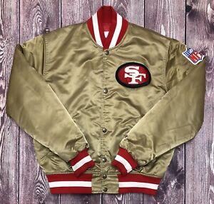 Vintage STARTER NFL SF San Francisco 49ers Gold Satin Jacket Size Medium