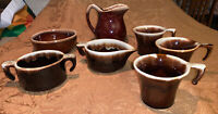 Vtg. USA-HULL? MCCOY? Brown Drip Glaze Small Pitcher,Cream & Sugar, 3 Cups, Bowl