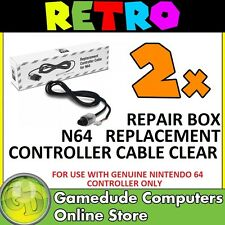 2x Repair Box N64 Replacement Controller Cable CLEAR - MODEL : M07177-C [F03]
