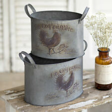 Set 2 country Metal ROOSTER design Tuns w/handles