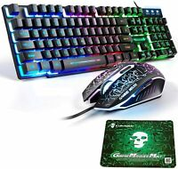 104 Keys Wired Gaming Keyboard Mouse Set Rainbow LED Backlit For PC PS4 Xbox one