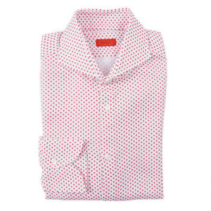 Isaia Slim-Fit Mini Floral Print Cutaway Collar Dress Shirt 16.5 (Eu 42)