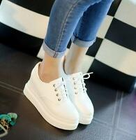 2016 Ladies Round Toe Lace Up Sneakers Casual Platform Wedge Slop Shoes Creepers