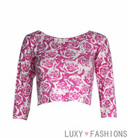 Ladies/Womens TOWIE 3/4 Sleeve Rose Floral Cropped Crop Top Jersey T-Shirt 8-14