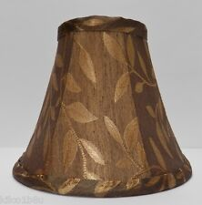 Bronze-Brown w/Gold Leaves Fabric Chandelier Lamp Shade Living room, Traditional
