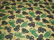 John Deere  baby toddler sheets set  tan tossed combines tractors flannel