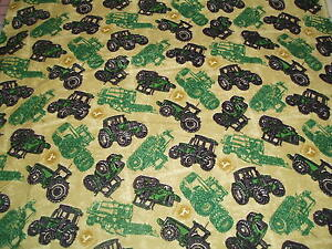 John Deere  baby toddler sheets set  tan tossed combines tractors flannel