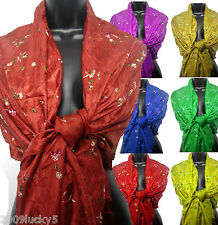 Embroidered Silk Scarf Shawl Pashmina Scarves Embroidery New Ladies Evening Wrap