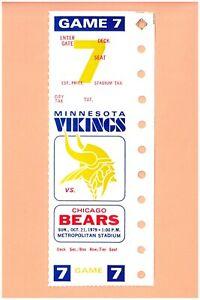 Chicago Bears @ Minnesota Vikings 10-21-1979 FULL NFL ticket Topps Walter Payton