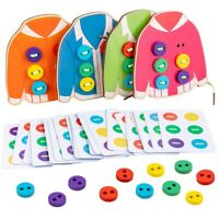 AU_ IC- 4Pcs Kid Wooden Clothes Manul Sewing Button Board Threading Game Toy Hea