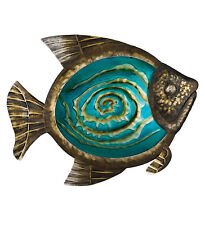 Bronze Teal Blue Tropical Fish Wall Art Glass Metal Coastal Nautical