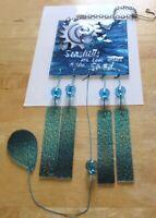 Wind Chime- SEASHELLS- -square -blue green white - glass -5 chimes -glass beads