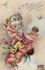 """ANTIQUE TRADE CARD LIEBIG BEEF EXTRACT """" LOVELY FANTASY CHERUBS AT PLAY"""""""