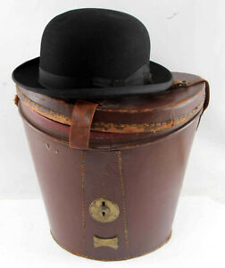 Hat, Stetson Vintage 1930s Felt Bowler with Leather Case, Handsome !!