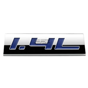 BUMPER STICKER METAL EMBLEM DECAL TRIM BADGE POLISHED CHROME BLUE 1.4L 1.4 L