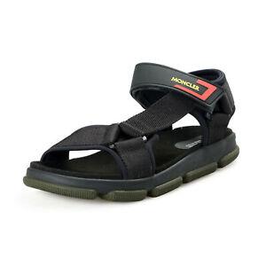 """Moncler Men's """"SIMEON"""" Black Logo Print Sandals Shoes US 9 IT 42"""