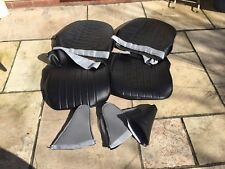 AUSTIN HEALEY FROGEYE SPRITE SEAT COVERS inc hinge Pouches Black/ Black Piping