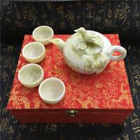 China handmade jade carving natural  jade Kungfu teapots and bowls in China A