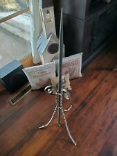 ANTIQUE 3FT COPPER LIGHTENING ROD W/ TWISTED METAL IRON BASE
