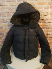 Abercrombie & Fitch Down Sherpa Hooded Jacket Coat Womens Size Medium Black