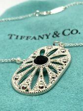 "NEW Tiffany & Co. Ziegfeld Oval Onyx & Pearls Daisy Sterling Silver 24"" Necklace"