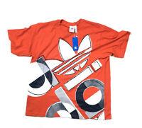adidas Originals Orange Bold Big Graphic Trefoil Logo T-Shirt NWT Men's L