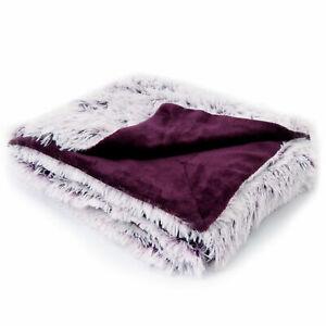 Cheer Collection Long Shaggy Hair Faux Fur Accent Throw - Throw Blanket