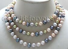 """longest 48"""" Genuine Natural 10mm Multicolor Round Pearl Necklace #f3071!"""
