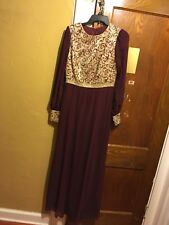 Maroon And Gold Evening Gown Party Dress Fancy