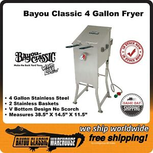 Bayou Classic 4 Gallon 2 Basket Propane Deep Fryer - Stainless Steel 700-701