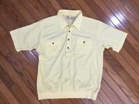 Vintage Haband Men's Yellow Casual Retro 1/4 Button Front Shirt 2 Pockets Size L