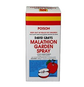 David Grays Malathion Garden Spray 200ml Aphids Scale Cabbage Moth Fruit Fly