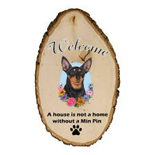 Miniature Pinscher Black & Tan Cropped Welcome Outdoor Breed Sign