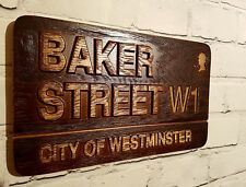BAKER STREET Wood Carving Name Plate Plaque SALE
