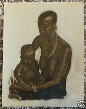 Iacovleff Alexandre.. Croisière noire.Jacomet ARTISTE RUSSE AFRIQUE Mother & son
