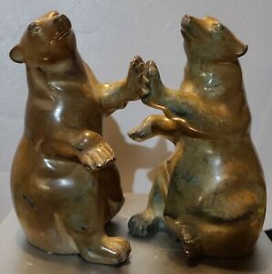 Vintage Grizzly Bear Bookends Polished Stone Carved India BEAUTIFUL!